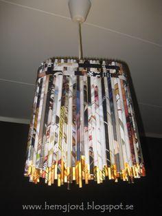 Newspaper pendal lamp   Recyclart