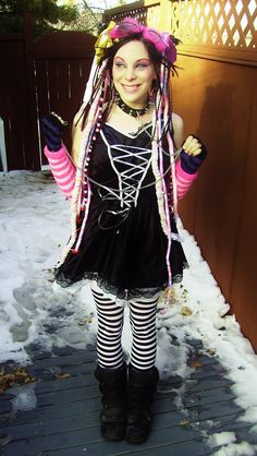 Cybergoth Lolita by Robotic Cupcake Smile people smile Victorian Goth, Gothic, Slave Collar, Cyberpunk Fashion, Cybergoth, Cool Hair Color, Goth Girls, Dreads, Cupcake