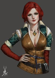 Triss (The Witcher series) by Feihong Chen Witcher 3 Art, Witcher 3 Wild Hunt, The Witcher 3, Fantasy Images, Fantasy Art, Fantasy Characters, Female Characters, Chen, Geralt And Ciri