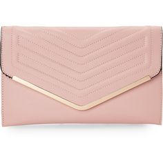Sasha Pink Quilted Envelope Clutch (€22) ❤ liked on Polyvore featuring bags, handbags, clutches, pink, pink envelope clutch, envelope clutch bag, pink leather purse, quilted leather purse and genuine leather handbags