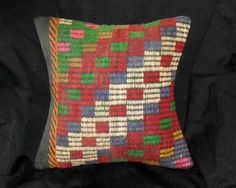 Vintage Turkish Handwoven Kilim Pillow Cover 16x16free by Cultere, $47.00