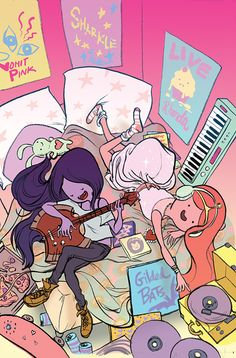 Adventure Time! Marceline and Princess Bubblegum! Love these two :)
