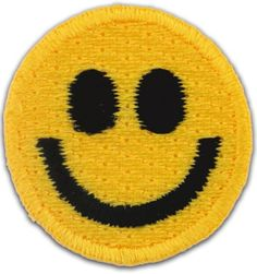 "Amazon.com: [50 Count Set] Custom and Unique (1"" x 1"" Inch) Round ""Comedic"" Versatile Funny Bright Retro Current Smiley Face Design Iron & Stick On Adhesive Embroidered Applique Patch {Yellow & Black Colors}"