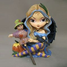 Art: Too Cute to be Scary Statue with Bradford Exchange by Artist Jasmine Ann Becket-Griffith