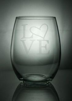 Love etched glasses valentine wine glasses by Blockislandarts