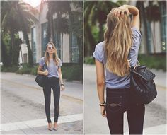 Gray Tee + Dark Skinny Jeans + Pumps + Black Leather Satchel