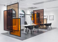 Office Divider Ideas Use Idea As Desk Dividers Angle Desk Spaces Against Incoming Sunlight Cool Office Divider Ideas Cool Office Space, Office Space Design, Office Workspace, Office Interior Design, Office Decor, Small Office, Office Ideas, Office Designs, Cozy Office