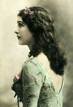 Lina Cavalierly, in a beautiful hand-tinted photo