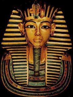 Front view of King Tutankhamun's funerary mask.