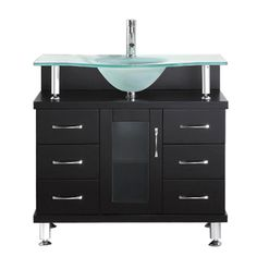 Virtu USA Vincente 36 in. W Bath Vanity in Espresso with Glass Vanity Top in Aqua with Round Basin