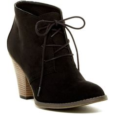MIA Shawna Bootie (53 CAD) ❤ liked on Polyvore featuring shoes, boots, ankle booties, black nova, lace up boots, black bootie, black ankle boots, short black boots and ankle boots