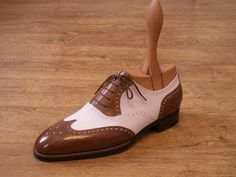 White and brown #brogue #wingtips #oxfords