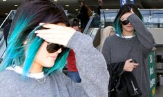 Kylie Jenner jets to Kim's wedding with blue hair and mom is furious
