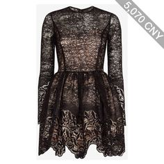 Alexis Malin Embroidered Lace Sequin Frill Flare Dress