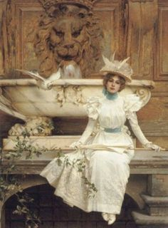 Waitng by the fountain, Vittorio Matteo Corcos