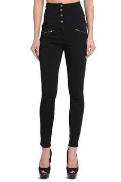 TheMogan-S-3XL-Button-High-Waisted-Ponte-Knit-Skinny-Trousers-Slim-Pants