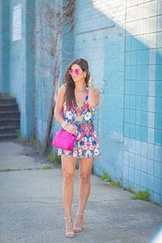 halter cutout romper, floral print romper, fuchsia crossbody bag, pink flash lens aviators, summer romper, summer style // @asoutherndrawl
