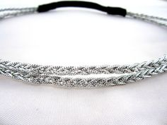 Double Braided Metallic Silver Headband, greek goddess, hair accessories, wedding headband, prom headband, boho band. $7.00, via Etsy.