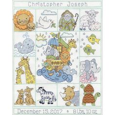 """Noahs Ark Sampler Birth Record Counted Cross Stitch Kit-11""""X14"""" 14 Count"""
