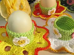 "Ravelry: Crochet Egg Holder ""Easter Flower"" Tutorial Pattern pattern by Lyubava Crochet"
