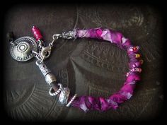 Sari Silk Leather Cord Kuchi Charms Bracelet by YuccaBloom on Etsy
