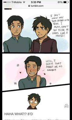 Discovered by We Heart Yaoi. Find images and videos about lol, jean and attack on titan on We Heart It - the app to get lost in what you love. Armin, Levi X Eren, Attack On Titan Funny, Attack On Titan Ships, Attack On Titan Anime, Ereri, Levihan, Anime Ai, Anime Meme