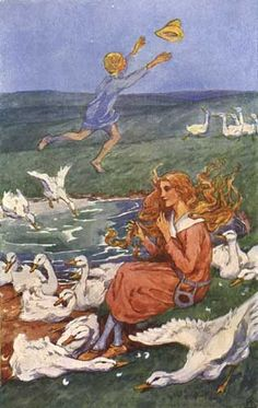 """The Goose Girl""  Art by Helen Stratton - From The Brothers Grimm Fairy Tale Collection - Germany (1815)"