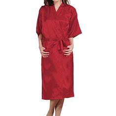 b91758832a SJINC Womens Silk Bathrobes Solid Kimono Knee Length Lingerie Bridal Satin  RobeRedTag size MUS size Medium