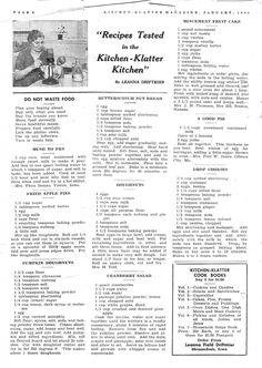 January 1944 ~ Mush to Fry, Fried Apple Pies, Pumpkin Doughnuts, Butterscotch Nut Bread, Doughnuts, Cranberry Salad, Mincemeat Fruit Cake, A Good Pie, Drop Cookies