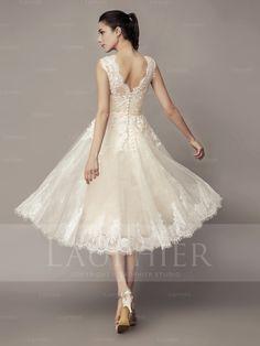 A-line Scoop Applique Tea-length Wedding Dresses For Bride (LPR000129) - Lauphier