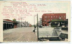 Grand Haven Michigan Gildner Hotel Downtown Street Scene Railroad Depot Postcard  