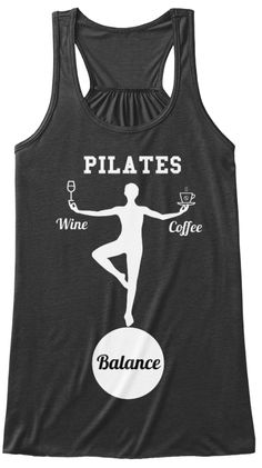 Pilates Wine Coffee Balance Dark Grey Heather T-Shirt Front