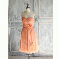 2015 Tangerine Coral  bridesmaid dress, Strapless Chiffon Party dress, Pleated formal dress, Rosette Prom dress, Wedding dress (A017) by RenzRags on Etsy https://www.etsy.com/listing/163286371/2015-tangerine-coral-bridesmaid-dress