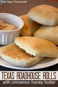 Texas Roadhouse Rolls with Cinnamon Honey Butter (copycat) on MyRecipeMagic.com. A delicious roll for your Easter dinner!