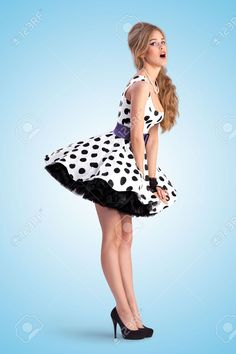 Buy Pinup in dots. Creative vintage photo of a shy pin-up girl wearing a retro polka-dot dress. Pin Up Outfits, Pin Up Dresses, Sexy Outfits, Pretty Dresses, Sexy Dresses, Vintage Dresses, Beautiful Dresses, Short Dresses, Girl Outfits