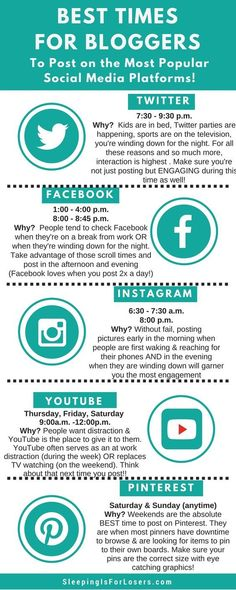 Best times to interact on social media platforms.  #socialmedia  #socialmediamarketing  #besttimes  CrazyMoneyMom.com