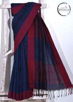 Midnight Blue Handwoven Cotton Linen Saree
