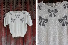 Vintage Sparkle Bow Sweater Tee by vicandlily on Etsy, $16.00