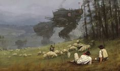 With his retro-futuristic illustrations, the artist Jakub Rozalski, aka Mr. Werewolf, imagines a dark and scary past, populated by war machines and giant robot Steampunk, Design Spartan, Science Fiction Kunst, Concept Art World, Alternate History, To Infinity And Beyond, Panzer, Sci Fi Fantasy, Sci Fi Art
