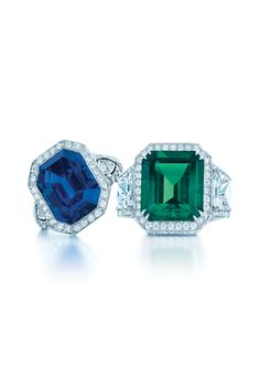 Engagement Rings - Coloured Gemstones.  Tiffany & Co Colombian emerald and diamond ring (right hand side)