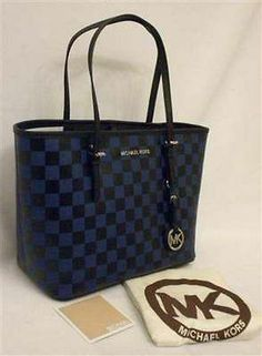 e1eaeb04cc7f NWT Michael Kors Small Jet Set Travel Tote Sapphire/Black Check Saffiano Leather  Travel Tote