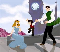 Cinderella, Prince Charming, and their son Jacob, named after one of the Grimm brothers, who've written one of the most famous versions of Cinderella. By Grodansnagel