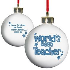 Personalised Blue World's Best Teacher Bauble   £8   Special Moment