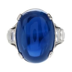 ART DECO 24.30ct No-Heat Sugarloaf Blue Sapphire Ring, c. 1925-1930