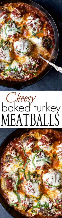 Cheesy Baked Turkey Meatballs cooked in Marinara sauce to keep them flavorful and moist. A comfort food that only takes 30 minutes to make! Holla!   joyfulhealthyeats...