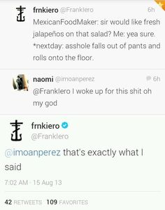 Frank Iero on his full sass mode Emo Band Memes, Mcr Memes, Emo Bands, Music Bands, Frank Lero, Mikey Way, Pierce The Veil, Green Day, Fall Out Boy