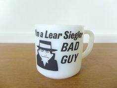 Vintage Lear Siegler Bad Guy milk glass mug by Sweetpotatojack on Etsy