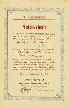 HWPH AG - Historische Wertpapiere - Zuckerfabrik Gommern GmbH / Gommern, 01.04.1921, Anteilschein über 11.000 Mark, o. Nr.