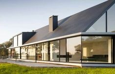 Villa Geldrop by Hofman Dujardin Architects in the Dutch countryside - Click through to the floorplan showing the subterranean bedrooms. Residential Architecture, Contemporary Architecture, Amazing Architecture, Interior Architecture, Modern Barn, Modern Farmhouse, Gable Roof Design, Building A Container Home, Architecture Wallpaper