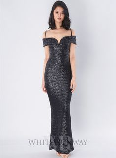 Starlet Gown. A full length gown by Nookie. A sexy off shoulder style made from a stretch sequin fabric.